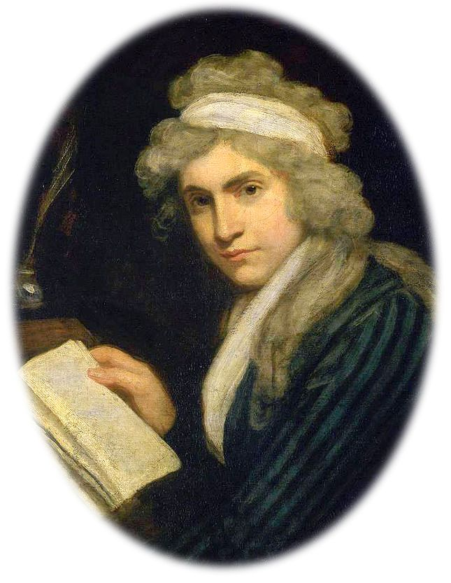 Detail of portrait of Mary Wollstonecraft, cropped to an oval (miniature-style). Her fluffy grey hair is encircled with a broad white sash of fabric as she gazes intently at the viewer in a side profile. She wears a jacket or dress of blue and black vertical stripes, with a white kerchief tucked in around her chest. One hand is upon a sheaf of papers, or it might be a book propped upon an angled desk, as if disturbed from reading/writing. A quill rests on the ledge of the desk just above.