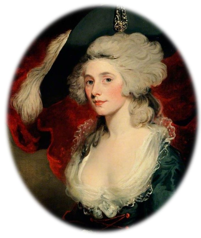 Detail of portrait of Mary Robinson in costume as Perdita, cropped to an oval (miniature-style). Background of flowing crimson red curtain. Robinson has a clear complexion, and a huge black hat perched at a coquettish angle upon her fluffed out grey hair. A voluminous feather adorns the hat, and some jewels on the turned up flap, facing the viewer. Her gown is low cut, revealing ample creamy white decollege. Foamy white lace decorates the edge, and the dress is a deep blue colour, with some red buttons just becoming visible near the base of the cropped image.